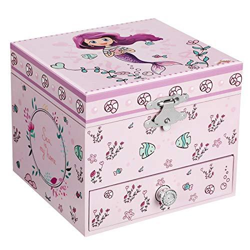 SONGMICS Ballerina Music Jewellery Storage Box, Gift for Little Girls, Mermaid Theme, Over the Waves Melody, Lilac JMC015PL