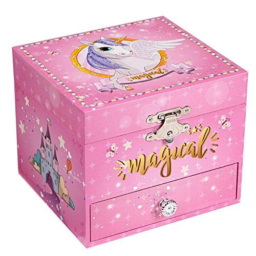 SONGMICS Ballerina Musical Jewellery Box, Small Wind-Up Music Box with Storage, Unicorn Theme, Pullout Drawer, for Little Girls, Pink, JMC008PK