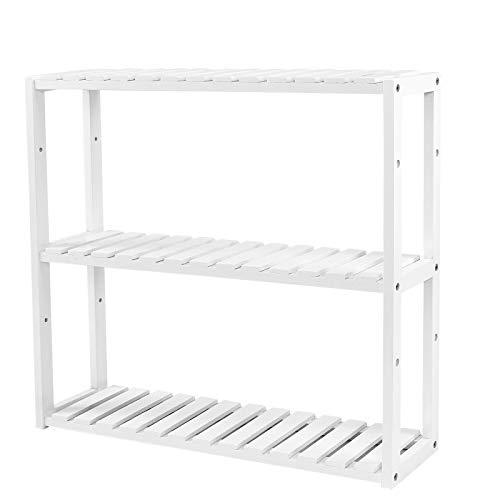 SONGMICS Bamboo 3-Tier Adjustable Rack, Space-saving Wall Shelf, 60 x 15 x 54 cm, for Bathroom, Living Room, Kitchen, Garage, White BCB13W