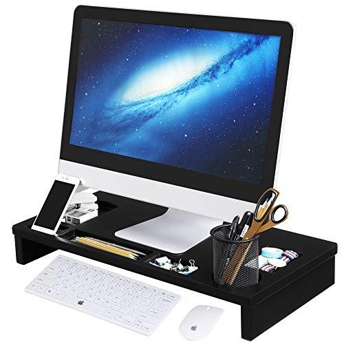 SONGMICS Bamboo Monitor Stand Riser, Ergonomic Desktop Organizer with Cellphone Holder Storage Slots for Computer, Laptop, TV and Office Supply 60 x 30.2 x 8.5 cm Black LLD201H