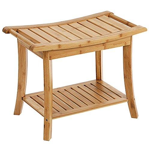 SONGMICS Bamboo Shower Bench Seat, Portable Spa Bathing Stool, with Towel Shelf, Handles, Natural UBCB25Y
