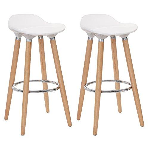 SONGMICS Bar Stools Set of 2, Beechwood Legs ABS Surface, Seat Height 73 cm, Kitchen Counter Bar Breakfast Chairs, White and Natural Wood Colour LJB20W