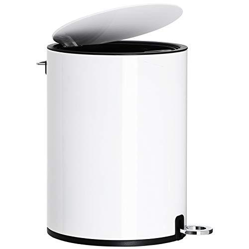 SONGMICS Bathroom Bin, 3 Litre Toilet Pedal Bin, Cosmetic Bin with ABS Lid and Plastic Inner Bucket, Steel LTB11WT