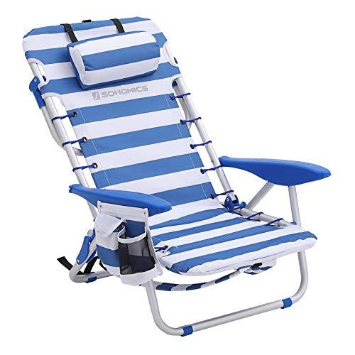 SONGMICS Beach Chair Portable, Aluminium, with Pillow, Foldable, Reclinable, Carry as a Backpack, Outdoor Chair, Blue and White Stripes, GCB62BU