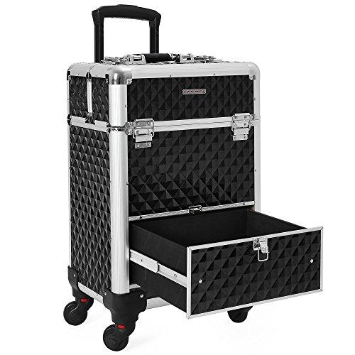 SONGMICS Beauty Case Rolling Trolley, Professional Cosmetic Case for Hairdressers, Lockable Storage with 360-Degree Universal Castors XL JHZ07B
