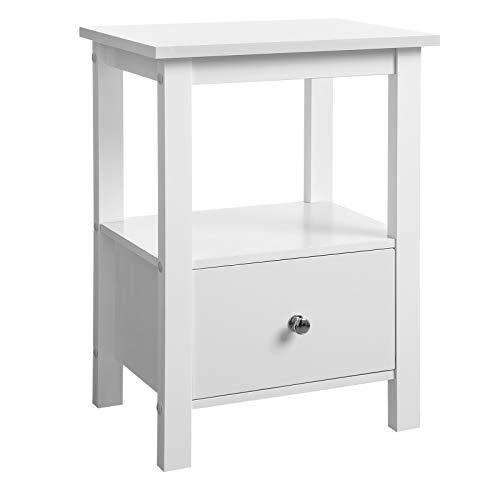 SONGMICS Bedside Table, End Table with 1 Drawer and 2 Shelves, Nightstand for Living Room, Bedroom, Office, Study, White LET11WT