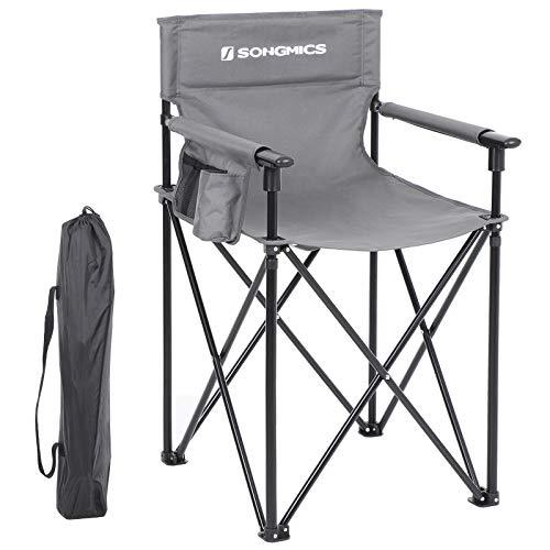 SONGMICS Camping Chair, Foldable Outdoor Chair, HighDirector Chair with 3-Pocket, Makeup Artist, Hairdresser, Heavy Duty Structure, Max. Load Capacity 150 kg, Grey GCB12GY