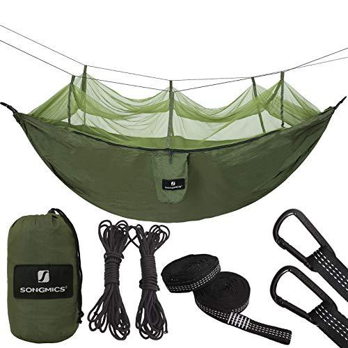 SONGMICS Camping Hammock Mosquito Net Ultra-Lightweight Parachute Nylon Swing Bed Bug Net 275 x 145 cm GDC14AG
