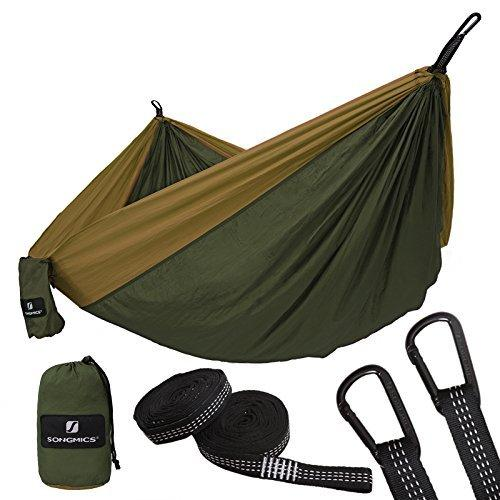 SONGMICS Camping Hammock Ultra-Lightweight Portable Swing Bed Breathable Parachute Nylon 300 x 200 cm, for Travel Backpacking Camping Hunting Beach Yard GDC20AC