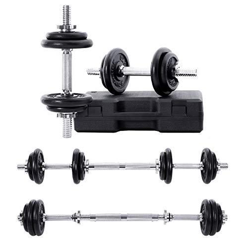 SONGMICS Cast Iron Adjustable Dumbbells Set with Carry Box and Extra Barbell Bar, 20 KG, for Men Women, Workout Fitness Training Weights Lifting at Home Gym 1 Pair SYL20LBK