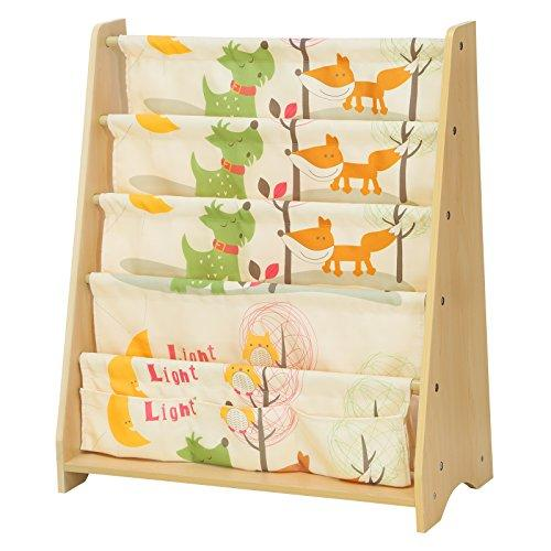 SONGMICS Children's Sling Bookcase, 4 Tier Fabric Book Shelves For School Supplies Stationery, Storage Unit and Rack in Children's Room, Nursery, Kindergarten, Animal Theme with Maple Finish GKR71YL
