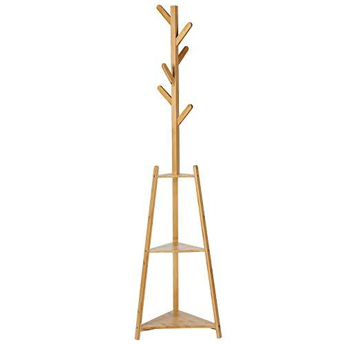 SONGMICS Coat Stand, Bamboo Coat Rack with 2 Storage Shelves and 6 Branches, Corner Hall Tree Hanger for Entryway, Hallway, Easy Assembly, Natural RCR306NL