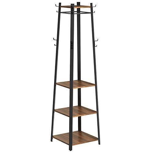 SONGMICS Coat Stand, Free Standing Coat Rack, Industrial Style Hall Tree, for Entryway, Hallway, Living Room, Walnut Colour RCR12BW