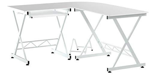 SONGMICS Corner Computer Desk, L-Shaped Desk Large Workstation with Keyboard, Study Gaming Desk, Save Space, for Home Office, White LCD402W