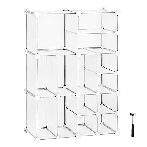 SONGMICS Cube Storage, Plastic Organiser Unit, Space Saving Shelving Unit, for Wardrobe, Living Room, Bedroom, Clothes, Toys, White LPC601W