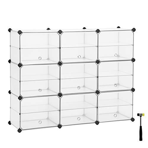 SONGMICS Cube Storage with Doors, Shoe Rack, Plastic Organiser Unit with Dividers, Rubber Mallet Included, for Wardrobe, Living Room, Bedroom, White LPC502W