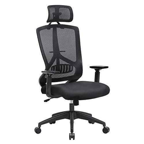SONGMICS Ergonomic Office Chair, Mesh Desk Chair, Computer Chair with Adjustable Headrest, Armrest und Lumbar Support, 90°-135° Tilt Mechanism, Black OBN53BKUK