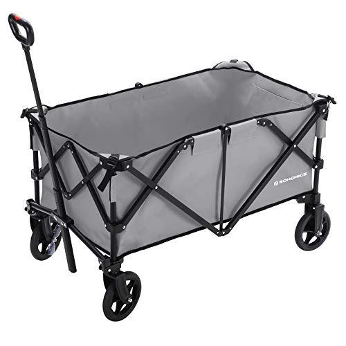 SONGMICS Folding wagon, Portable Garden Cart with 4 Wheels and Steel Brakes, Heavy Duty Aluminium Frame, Max Load Capacity 150 kg, TÜV Rheinland Test, for Outdoors, Grey GHT02GY