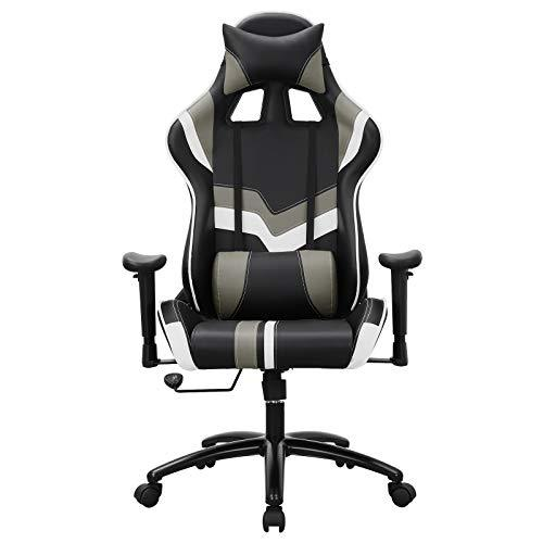 SONGMICS Gaming Racing Chair Office Computer Chair Desk Chair with Adjustable Armrest, Lumbar Support, Headrest 66 x 72 x (124-132) cm Black, White RCG27BWUK