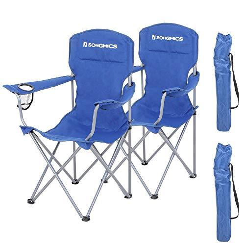 SONGMICS GCB08BU, Set of 2, Folding Chairs, Comfortable Folding Chair with Sturdy Frame, Holds up to 150 kg, with Bottle Holder, Outdoor Chair, Blue, XL