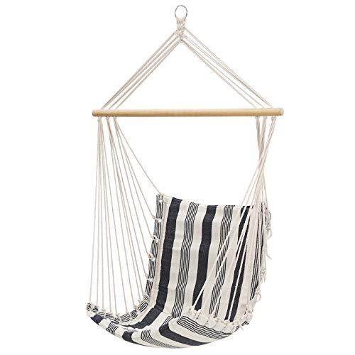SONGMICS Hammock Chair, Swing Chair, Hanging chair, Load Capacity 200 kg, Indoor and Outdoor, Blue and White Stripes GDC45WQ