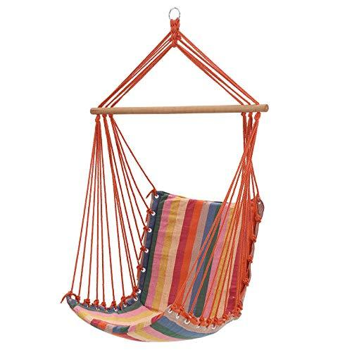SONGMICS Hammock Chair, Swing Chair, hanging chair, Load Capacity 200 kg, Indoor and Outdoor, Rainbow Colour GDC45CV1