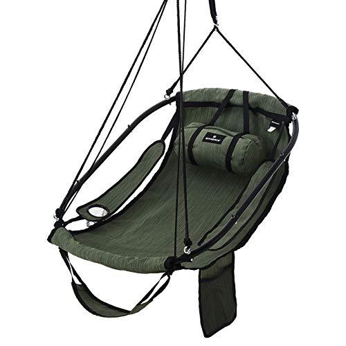 SONGMICS Hammock Chair Swing chair Hanging chair with Pillow, Armrests, and Footrest, Metal Frame, Adjustable Swing Chair with Drink Holder, Storage Bag, Load Capacity 160 kg, Army Green GDC47AG