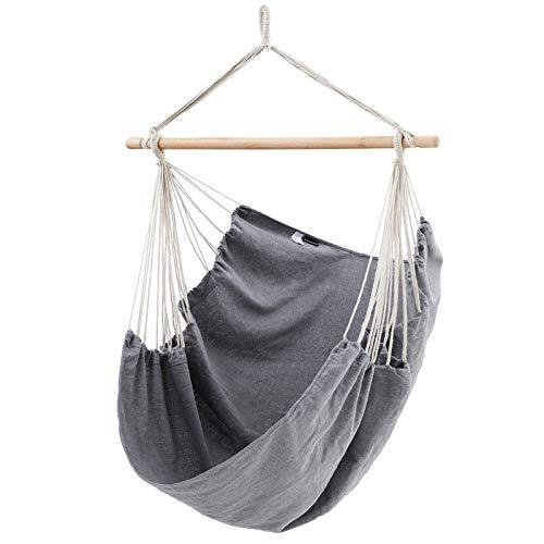 SONGMICS Hammock Chair, XXL Swing Chair, 130 x 185 cm, Load Capacity 200 kg, Indoor and Outdoor, Grey GDC186GY