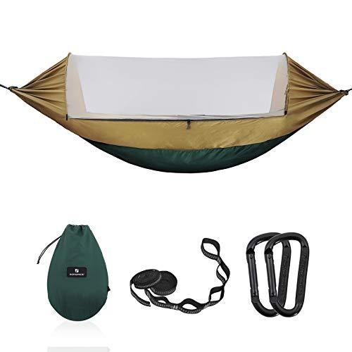 SONGMICS Hammock with Pop-up Mosquito Net, Portable Double Hammock, Ripstop Nylon, Quick Dry, Multi-Loop straps, Load Capacity 300 kg, 275 x 140 cm, for Camping, Hiking, Garden GDC17AC