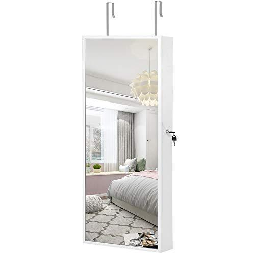 SONGMICS Hanging Jewellery Cabinet, Mirror Armoire with LED Interior Lighting, Jewellery Organiser with Full-Length Mirror, Wall-Mounted, Door-Hanging, Gift Idea, White JJC65WT