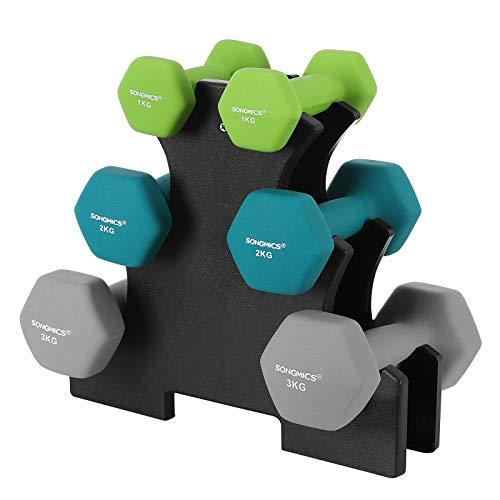 SONGMICS Hex Dumbbells Set with Stand - 2 x 1 kg, 2 x 2 kg, 2 x 3 kg, Lime, Teal and Grey, Neoprene Matte Finish, Fitness Weight Exercise for Home Gym SYL612GN