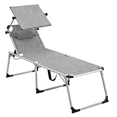 SONGMICS High Folding Sun Lounger, Sunbed with Removable Headrest and Adjustable Sunshade, Rustproof Aluminium, Breathable, Reclinable, Max. Load capacity 250 kg (Grey, White)