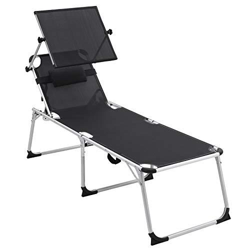 SONGMICS High Sun Lounger, Foldable, with Headrest, Adjustable Sunshade, 250 kg Load GCB26BK