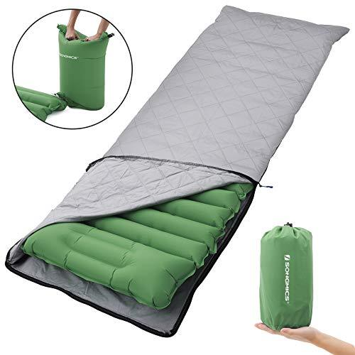 SONGMICS Inflatable Sleeping Mat, Ultra-Light Sleeping Pad, Inflatable Camping Mat with Built-in Pillow, Cloth Cover, Portable Air Mattress for Travel, Camping, Hiking, Green GSP03GNZ