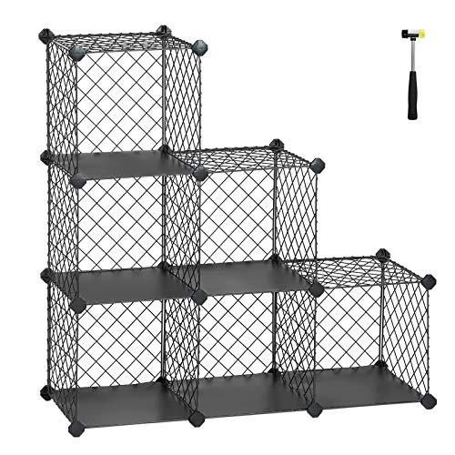 SONGMICS Interlocking Storage Rack, Metal Wire Mesh Cube Shelf, 6 Cubes for Books, Shoes, Clothes, Ideal for Garage, Cellar, Office, Wardrobe, Stable, Grey LPX111GY