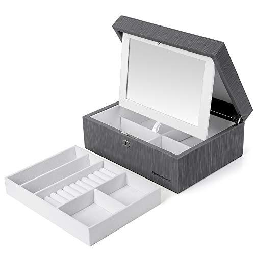 SONGMICS Jewellery Box Lockable Jewellery Organiser with Folding Mirror and Removable Divider for Necklaces, Rings Gift for Loved Ones Grey JBC233GY