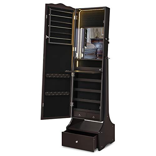 SONGMICS Jewellery Cabinet with LED Lights, Lockable Mirrored Cabinet, with Interior Mirror and Flip-over Makeup Shelf, Brown JBC87BR