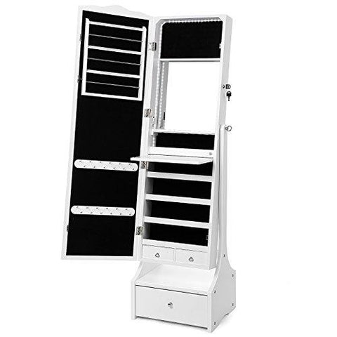 SONGMICS Jewellery Cabinet with LED Lights, Lockable Mirrored Cabinet, with Interior Mirror and Flip-over Makeup Shelf, White JBC87WT