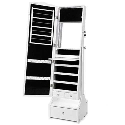 SONGMICS Jewellery Cabinet with LED Lights, Lockable Mirrored Cabinet, with Interior Mirror and Flip-over Makeup Shelf, White JBC87WTV1