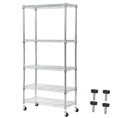 SONGMICS Kitchen Shelf 5-Tier Chromium-Plated Metal Wire Shelving Unit with Wheels and Leveling Feet for Home Office Garage Storage, 75 x 35 x 150 cm (W x D x H) Silver LGR05C