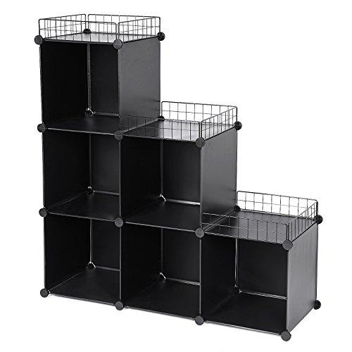 SONGMICS Large 6 Cubes Storage Bedroom Plastic Organiser, 35 x 35 cm, Wardrobe Divider, Bookcase Shelf, Shoe Rack Cabinet Shelving Unit, for Clothes Clothing kids Toys Closet with Top Metal Grid, Hammer 108 x 36 x 114.5 cm Black LPC112