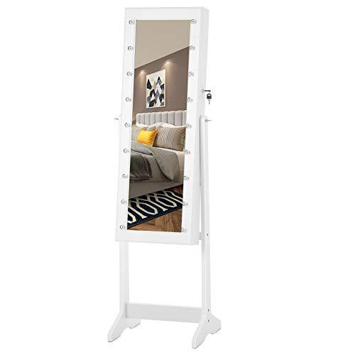 SONGMICS LED Jewellery Cabinet, Free Standing Jewellery Organiser, Lockable Large Storage Capacity, Full Length Mirror, Marquee Lights, White JBC81WTV1