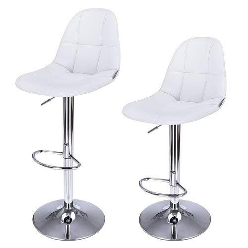 SONGMICS LJB68W Set of 2 Bar Stools with Backrest and Sturdy Base Diameter 41 cm White Faux Leather