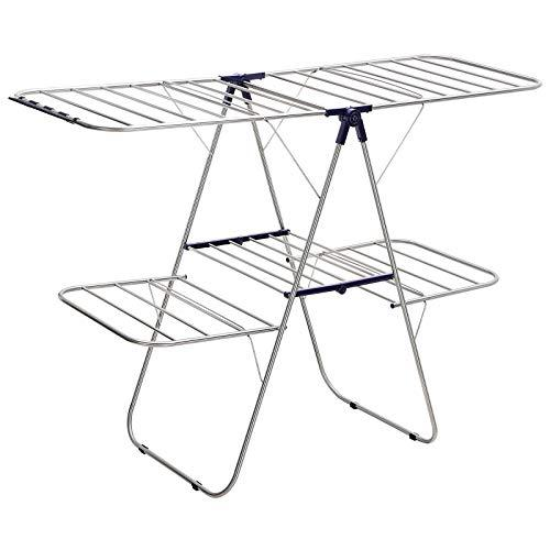 SONGMICS LLR53BU Stainless Steel Clothes Airer with Adjustable Wings 2 Tier Wing Airer for Socks, Bedding, Clothing, Folding, Stable, Blue