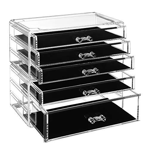 SONGMICS Makeup Organiser, 2-Piece Storage Boxes for Jewellery and Cosmetics, Stackable, with 5 Drawers, Transparent Polystyrene JMU32TP