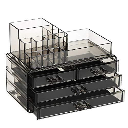 SONGMICS Makeup Organiser, Cosmetics Storage Case with 4 Drawers and 11 Compartments of Different Sizes, Non-Slip Mats, Makeup and Jewellery, Transparent Smoky Grey JKA001GY