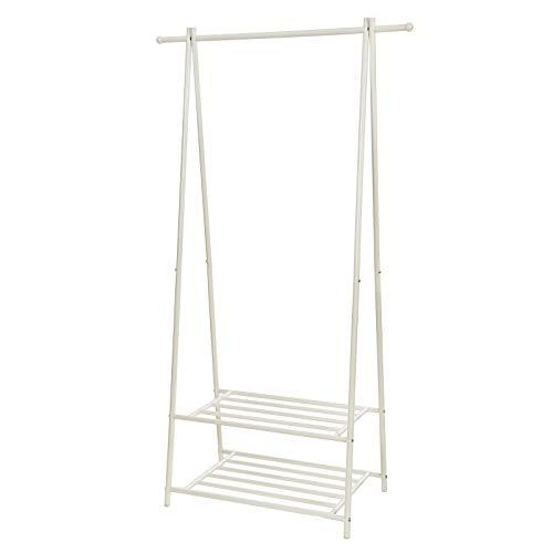 SONGMICS Metal Coat Rack Clothes Stand with 2-tier Clothes Shoe Hat Rack Entryway Organizer Cream HSR05W