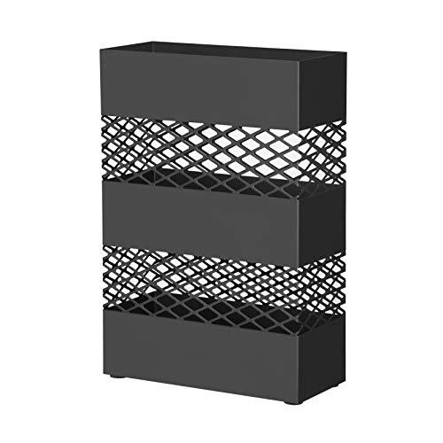 SONGMICS Metal Umbrella Stand, Rectangular Umbrella Holder Rack, with Removable Drip Tray, Lattice Cutouts, Black LUC02BK