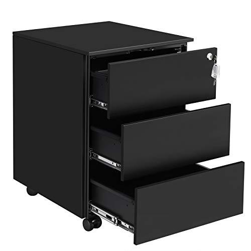SONGMICS Mobile File Cabinet, Lockable, with 3 Drawers, Hold Documents, Stationery, Pre-Assembled, for Office, Home Office, 39 x 45 x 55 cm (L x W x H), Matte Black OFC63BK