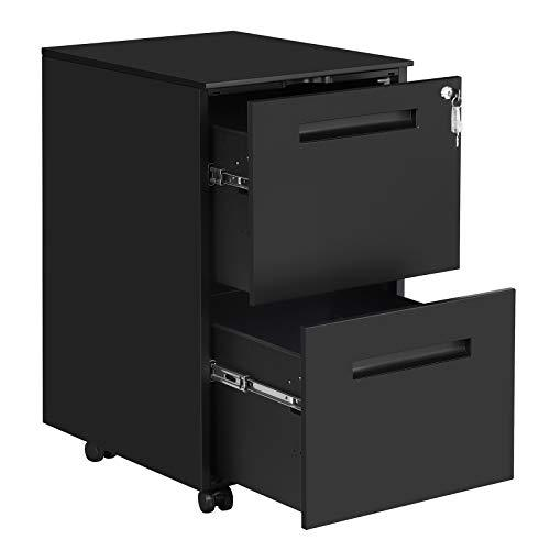 SONGMICS Mobile File Cabinet, with 2 Drawers, Lock, for Office Documents, Suspended Folders, Pre-Assembled, 39 x 50 x 69.5 cm (L x W x H), Matte Black OFC52BK